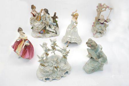 "A Royal Doulton figure, ""Southern Belle"", H. N. 2229, together with a Lladro style Japanese lady and"