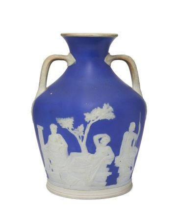 A Jasperware copy of the Portland vase, in the manner of Wedgwood, 19th century, impressed marks