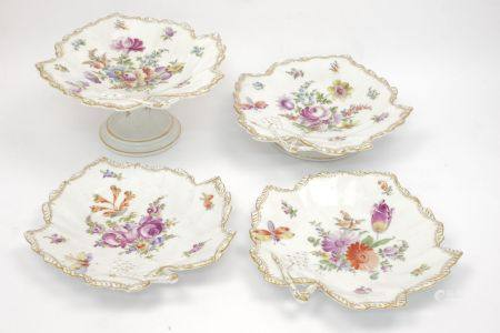 A pair of Dresden porcelain leaf shaped dishes, late 19th/early 20th century, decorated with