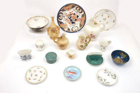 A collection of small porcelain receptacles, by Royal Worcester with an Imari style plate and a