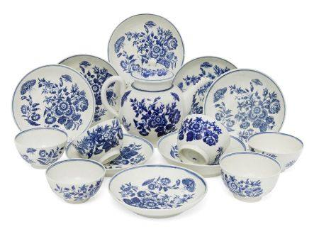 A collection of Worcester blue and white printed porcelain tea wares, circa. 1751-1780, each printed