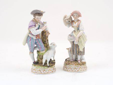 A pair of Augustus Rex porcelain figures of a shepherd and shepherdess, marked to base, 18.5cm