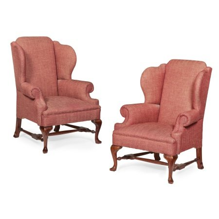 PAIR OF GEORGE I STYLE WING ARMCHAIRS MODERN