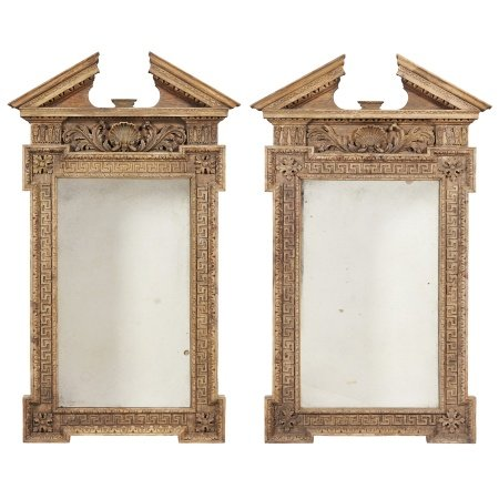 PAIR OF GEORGE II STYLE CARVED PINE PIER MIRRORS 19TH CENTURY