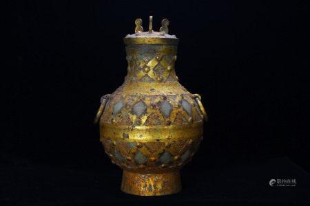 A Bronze Gilt Jade Inlaid Jar