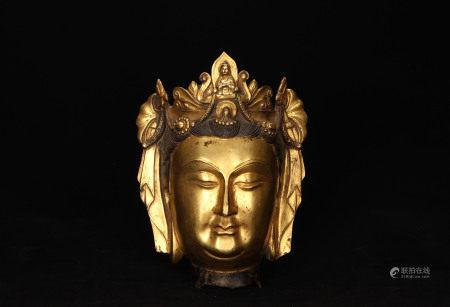 A Bronze Gilt Buddha Head