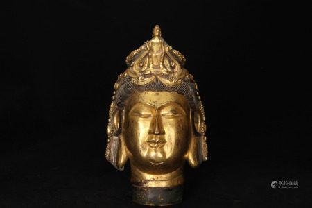 A Bronze Gilt Bodhisattva Head
