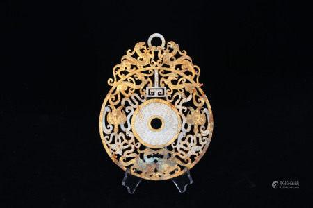 A Bronze Inlaid Jade Bi