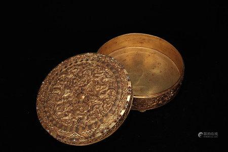 A Bronze Gilt Dragon Box