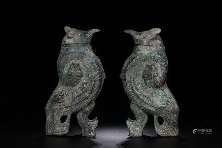 Pair Bronze Owls