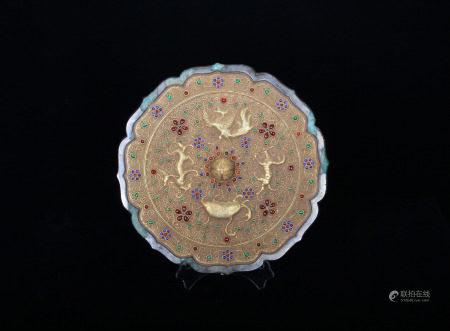 A Hard-stones Inlaid Gold Mirror