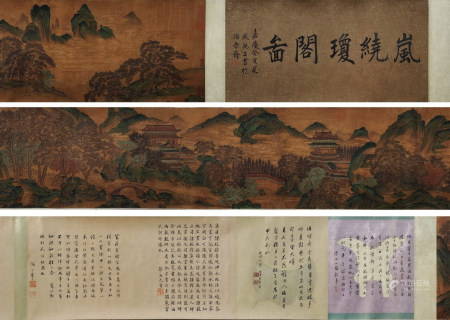 A Chinese Hand Scroll Painting By Qiu Ying