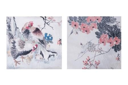 ZHU WENHOU (1895-1961), COCK AND FLOWER