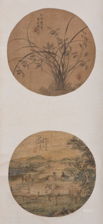 A CHINESE DOUBLE FAN SCROLL PAINTING