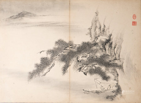 A CHINESE PAINTING OF LANDSCAPE MOTIF