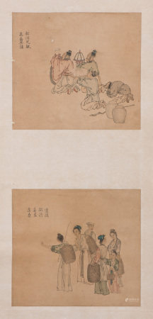 A CHINESE SCROLL OF TWO FIGURAL PAINTINGS, BONHAMS