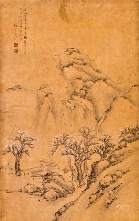 A FRAMED SILK PAINTING OF LANDSCAPE MOTIF, AFTER GONG XIAN