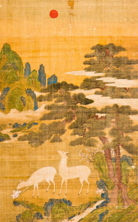A SILK PAINTING OF DEER MOTIF WITH FRAME