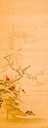 A SILK PAINTING WITH FRAME OF FLORAL MOTIF