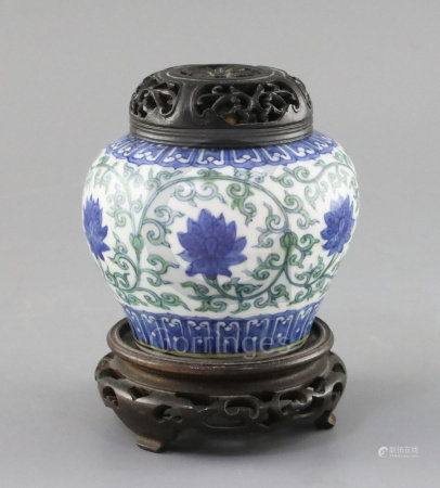 A rare Chinese doucai 'lotus flower' jar, Wanli six character mark and probably of the period, (