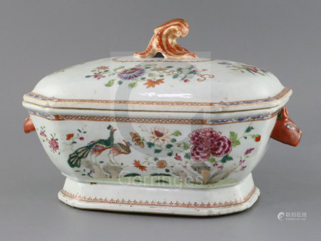 A Chinese export famille rose 'double peacock' soup tureen and cover, Qianlong period, the body