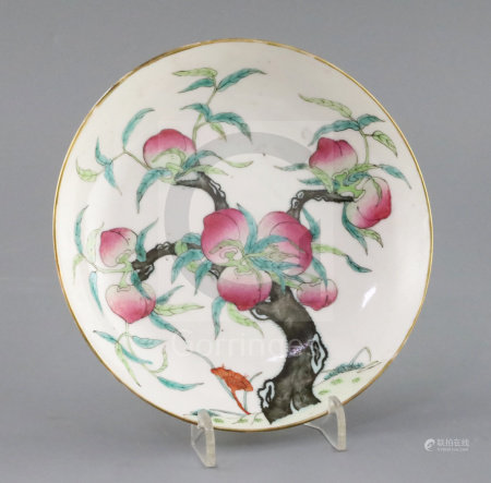 A Chinese famille rose Guangxu nine peach dish with blue glazed six character mark, 6.5in. diameter
