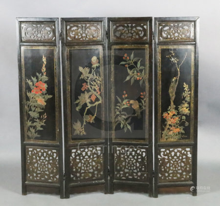 A Chinese hongmu and lacquer panelled four fold screen, 19th century, the front gilt decorated