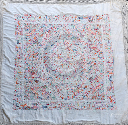 A Chinese embroidered silk table cover, late Qing dynasty, finely woven with various animals and
