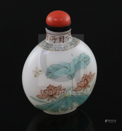 A Chinese enamelled 'Guyue Xuan' glass 'lotus' snuff bottle, possibly Palace workshops and