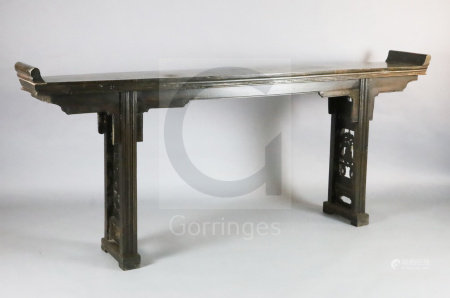 A 19th century Chinese hongmu altar table, with moulded frieze, legs interspaced with fret work