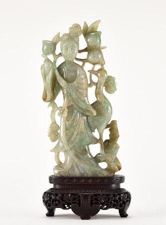 翠玉雕賀壽仙女像