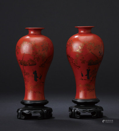 紅漆脫胎松樹人物紋對瓶