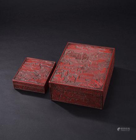 堆朱人物紋大盒、堆朱山水紋硯盒