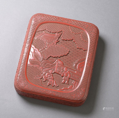 剔紅嬰戲圖硯盒