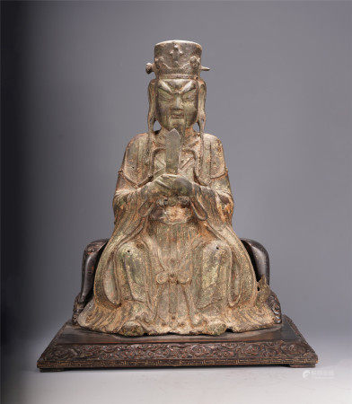 A CHINESE BRONZE CELESTIAL BUREAUCRACY SEATED STATUE