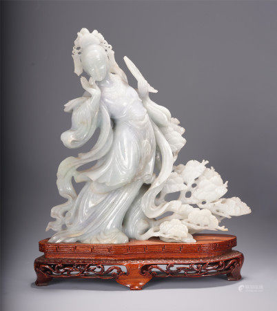 A CHINESE CARVED LADY STATUE JADEITE TABLE ITEM