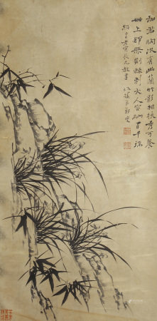 A CHINESE VERTICAL SCROLL OF PAINTING BAMBOO BY ZHENG BANQIAO