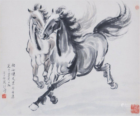 A CHINESE VERTICAL SCROLL OF PAINTING TWO HORSES BY XU BEIHONG