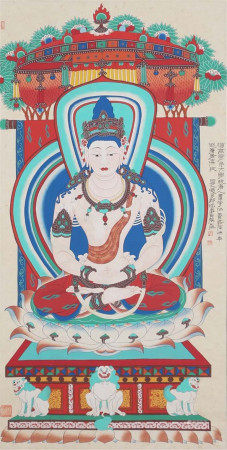 A CHINESE VERTICAL SCROLL OF PAINTING MOGAO GROTTOES BUDDHA STATUE BY ZHANG DAQIAN