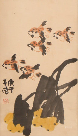 A CHINESE VERTICAL SCROLL OF PAINTING FLOWER AND BIRD BY CUI ZIFAN