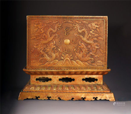 A CHINESE GILT BRONZE DRAGON PATTERN BOX AND A SET OF SCRIPTURES BOOKS