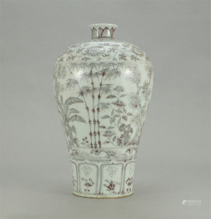 A CHINESE RED UNDER GLAZE PORCELAIN PINE BAMBOO AND PLUM BLOSSOM PATTERN MEIPING VASE