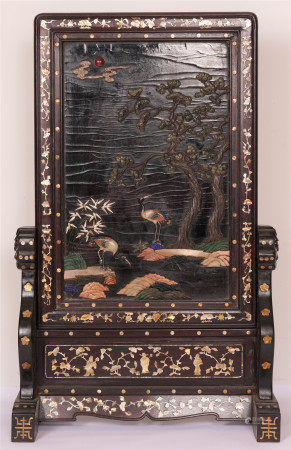 A CHINESE CARVED CRANE UNDER PINE TREE ZITAN TABLE SCREEN