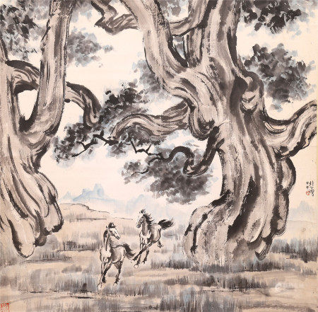 CHINESE INK AND COLOR PAINTING OF TREE AND RUNNING STEEDS BY XU BEIHONG