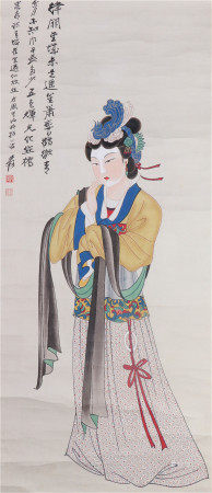 CHINESE REALISTIC PAINTING FIGURE OF COURT LADY BY ZHANG DAQIAN