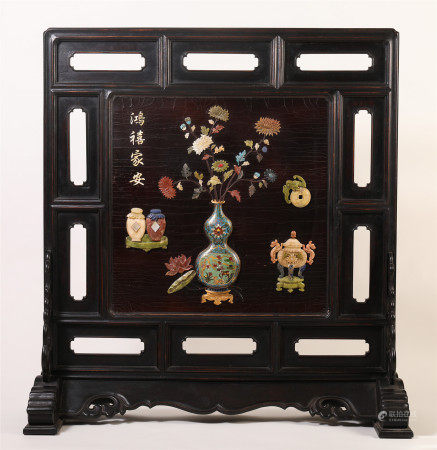 CHINESE ROSEWOOD CARVED INLAID CLOISONNE TABLE SCREEN