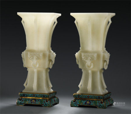 A PAIR OF CHINESE JADE FLOWER GU VASE ON CLOISONNE STAND