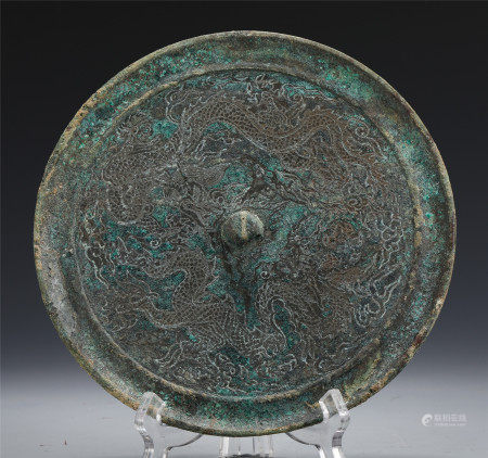 CHINESE ANCIENT BRONZE ROUND MIRROR INSCRIBED WITH DOUBLE DRAGONS
