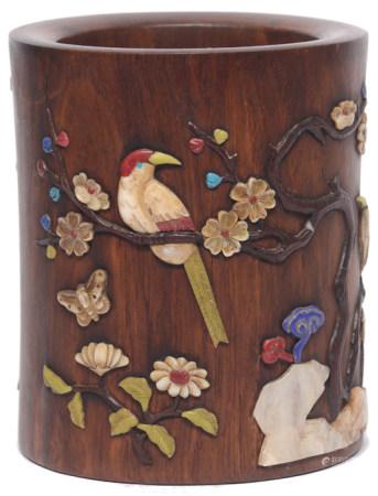 黃花梨木鑲百寶花鳥筆筒