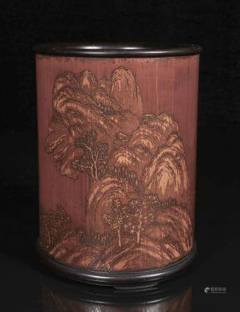 Bamboo carved landscape brush holder